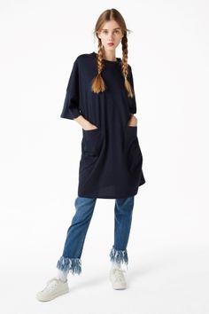Monki Image 1 of Wide T-shirt dress in Blue Reddish Dark