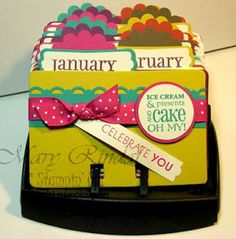 stampin up, rolodex, birthday calendar, big shot.SUSAN COBB this is for you! Cute Crafts, Crafts To Make, Diy Crafts, Stampin Up, Birthday Calendar, Birthday Board, Rolodex, E Mc2, Crafty Craft
