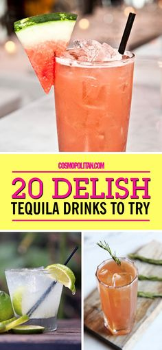 Try These Tequila Cocktails at Your Next Party Try These Tequila Cocktails at Your Next Party,COSMO Bites EASY TEQUILA DRINKS: Sure, traditional margaritas are yummy and all, but you can do much more with. Beste Cocktails, Easy Cocktails, Popular Cocktails, Fancy Drinks, Vodka Cocktails, Best Tequila Drinks, Mixed Drinks With Tequila, Tequila Recipe, Easy Mixed Drinks