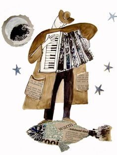 LARGE Fantasy Music between the Stars  ART PRINT Accordion iIlustration various sizes