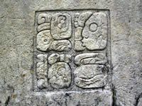 Mayan hieroglyphics carved in a temple at Palenque, Mexico.