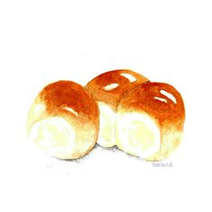Bread Roll Food Illustration by Maria C.D. Instagram: mariacdina
