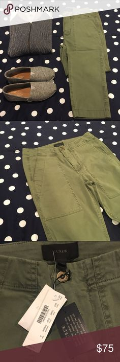 """J. Crew Slim Cargo Pant There's a time and place for skinny and tight pants, but this is not it. This slim boy pant (think body-skimming, not skinny) is made from a classic stretch chino with a supersoft garment-dyed wash, so it grazes your body in all the right ways.  Cotton/spandex. Slant pockets, back patch pockets. Machine wash. Sits lower on hip. Relaxed through hip and thigh, with a tapered leg. 27"""" inseam. J. Crew Pants"""