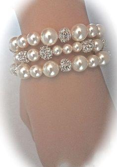 Pearl bracelet Bridal jewelry Pearl cuff bracelet
