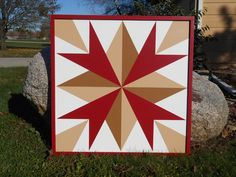 Amish Autumn Barn Quilt with Barn Red Frame 3'x3' morningstarbarnquilts.com