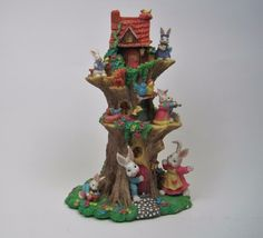 Large Easter Bunny Tree House. Condition: Possible repair on the bunny top left side. He may have been re-glued on. See picture. Great detail - perfect for your Easter decor. Bunnies, squirrel, bird nests, singing birds and Easter eggs. | eBay!