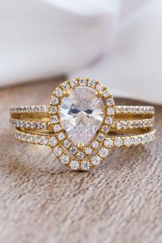 A beautiful engagement ring made out of Solid Gold. Choose a Yellow Gold, White Gold or a Rose Gold finish. Diamonds on top and on the sides of the ring making it a perfect ring for a special oc. Unique Diamond Engagement Rings, Beautiful Engagement Rings, Perfect Engagement Ring, Pear Diamond, Diamond Bands, Diamond Cuts, Solid Gold, White Gold, How To Make Rings