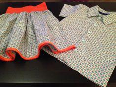 made by Kimberley V- werkwijze rokje (no pattern needed): stuk stof over volledige stofbreedte + rimpelen aan elastiek.
