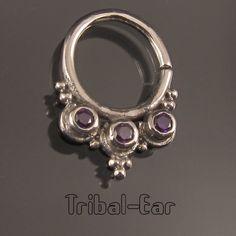 Septum Nose Ring Plain Silver Zircon Piercing Nez Body Jewellery Tribal Ear 037