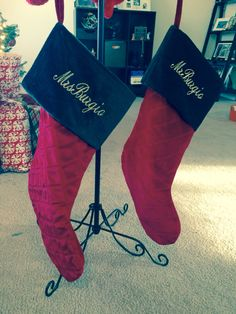 "Matching ""Mr and Mrs stockings""! A must have for your first married Christmas. Mr and Mrs. Burgio"