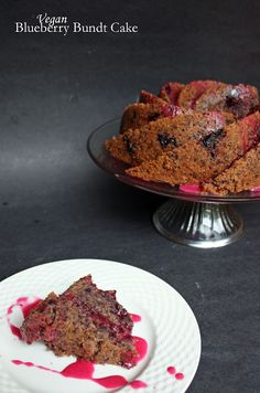 Vegan blueberry bundt cake with blueberry lemon glaze