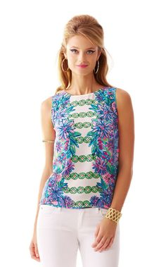 Iona Sleeveless Silk Shell - Lilly Pulitzer Resort White Crossed Lions Engineered Top