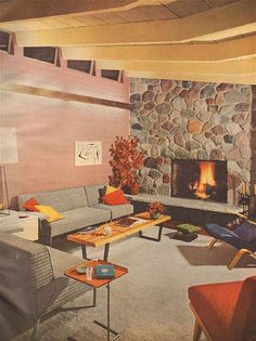 1953 Modern Living Room with Stone Fireplace – Midcentury Modern Style 1950s Living Room, Retro Living Rooms, Mid Century Modern Living Room, Living Room Modern, Living Room Designs, Living Room Decor, Dining Room, 1950s Interior, Retro Interior Design