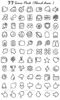 154 Icons Pack (Hand Drawn) (Web)