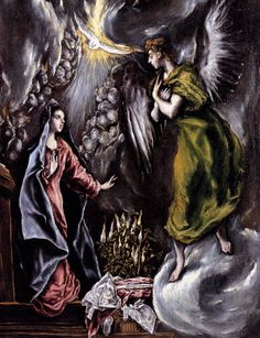 "El Greco, ""The Annunciation,"" Oil on canvas, 315 x 174 cm. in Museo del Prado, Madrid. Spanish Painters, Spanish Artists, Catholic Art, Religious Art, Painting Gallery, Art Gallery, Renaissance Espagnole, Dark Art Drawings, Baroque Art"
