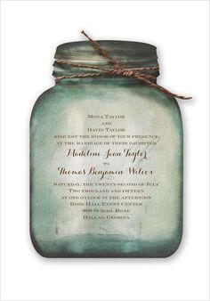 mason jar wedding invite from Invitations By Dawn