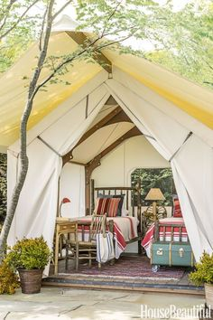 Sleeping Tent: For clients with a weekend home on Whidbey Island, architect Steve Hoedemaker and designer Tim Pfeiffer built custom sleeping tents as alfresco bedrooms. To find out more about this Tiny Tent Village, click through!