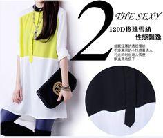 5b3361c291b272 new fashion summer autumn 2014 chiffon color block long design long sleeve  plus size casual shirt women blouse ladies blouses-inBlouses   Shirts from  ...