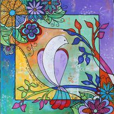Psalm 91:4 art dove painting by Melanie Douthit www.melaniedouthit.com