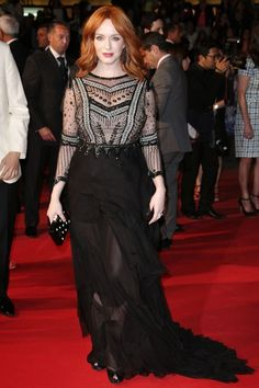 Christina Hendricks wore a dress by Alberta Ferretti from the autumn/winter 2013 collection at Cannes 2014