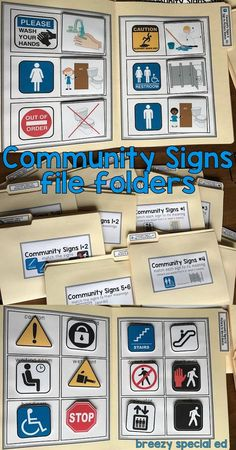 Community Signs / Environmental Print File Folders for Special Education : Help your students read and understand the environmental print that is all around them, such as these common community signs. Perfect for life skills and special education classes. Life Skills Lessons, Life Skills Activities, Teaching Life Skills, Art Therapy Activities, Education Jobs, Special Education Classroom, Architecture Design, File Folder Activities, Folder Games