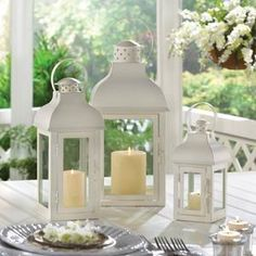 Gable Large White Lantern -20% off your entire order with code: Winter20