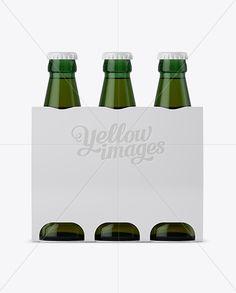 White Paper 3 Pack Light Green Bottle Carrier Mockup
