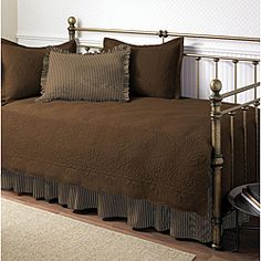 @Overstock - Elegant and comfortable, these stunning daybed sets are the perfect way to finish a small space or guest bedroom. Each set comes with a quilt, bed skirt, and three pillow shams, so you can outfit your daybed in beautiful, coordinating bedding.http://www.overstock.com/Bedding-Bath/Trellis-Chocolate-5-piece-Daybed-Set/5156382/product.html?CID=214117 $58.49