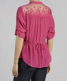Look what I found on #zulily! Magenta Lace-Yoke Button-Up Top - Plus by Mine Too #zulilyfinds
