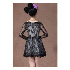 Black Boat Neck Long Sleeve Overlay Lace Flare Dress ($53) via Polyvore