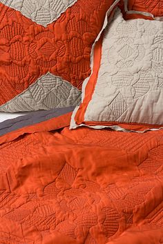 "I love this pumpkin inspired quilt bedding (""Keo"") from Anthropologie. Definitely a great fall/winter bed set."