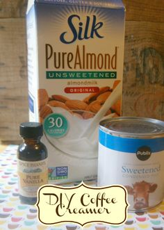Homemade Coffee Creamer Recipe: Just almond milk and sweetened condensed milk and whatever extracts you want to add.