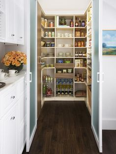 "Customize Your Pantry 	Shelves, pullout baskets and shallow drawers will ensure your pantry offers a place for everything and keeps everything in its place. ""Even small closets can be converted into orderly and spacious walk-in pantries. It's about making the best use of the space you have"
