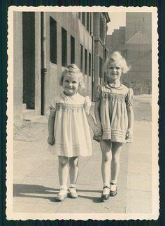 vintage photo BEAUTIFUL LITTLE GIRLS WALKING HAND IN HAND GIRL 1940s
