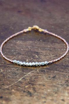 Nugget bracelet - pure silver on rose gold vermeil