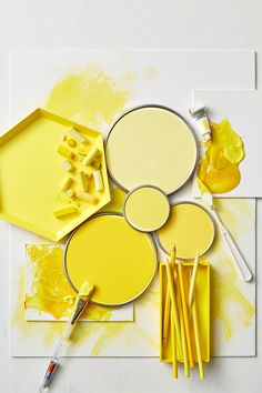 gen z yellow paint lids and trays containing chalk and colored pencils Yellow Aesthetic Pastel, Aesthetic Colors, Pastel Yellow, Mellow Yellow, Yellow Art, Yellow Paint Colors, Yellow Painting, Shades Of Yellow Color, Colour Board