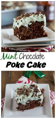 Mint Chocolate Poke Cake – moist chocolate cake covered with hot fudge, chocolate pudding and then topped with mint whipped cream.  A chocolate and mint dream come true!