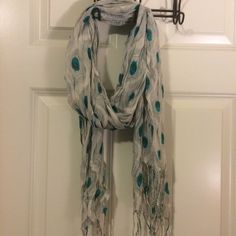 Peacock feather scarf White scarf with peacock feather print. 100% acrylic and gently used. Accessories Scarves & Wraps