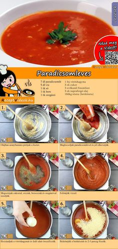 Vegetarian Recipes, Healthy Recipes, Tomato Soup Recipes, Hungarian Recipes, How To Cook Pasta, Soups And Stews, Casserole Recipes, Food Videos, Food Porn
