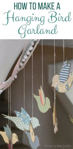 How to make a hanging bird garland from the Flock Together Apostrophe S Craft Kit. Beautiful home decor, nursery decor or party decor perfect for spring. #DIYHomeDecorSpring