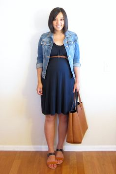 maternity style: black empire waist dress + cognac accents + denim jacket