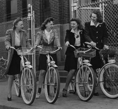 The fair sex pedals to work and gets a kick out of it. These four girls are stenographers at one of G-E's Midwest plants.