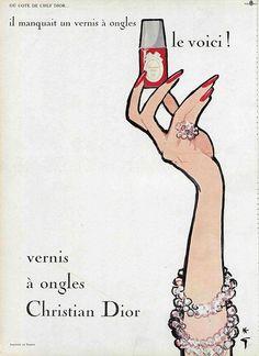 Vernis Nail Polish, Christian Dior by René Gruau Dior Vintage, Pub Vintage, Vintage Nails, Vintage Makeup, Looks Vintage, Vintage Perfume, Vintage Beauty, Vintage Models, Fashion Vintage