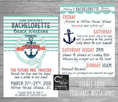 Mint & Coral Nautical Bachelorette Beach Weekend Double- Sided Invitation