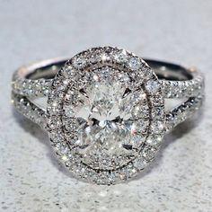 Oval Cut Diamond Engagement Ring GIA 2 00 Ct Double Halo Split Shank Platinum | eBay