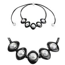 ZSISKA necklace silver black from the COSMO collection, HAND MADE