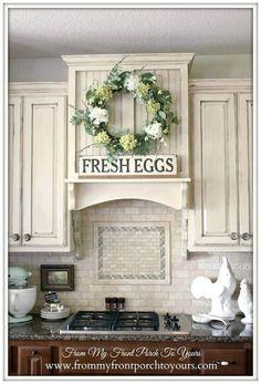 Distressed Light Farmhouse Kitchen Cabinets