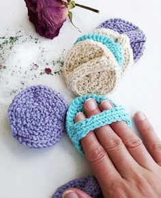 Free Knitting Pattern for Facial Scrubbies - Less than 10 yards of cotton yarn creates these cute and useful face scrubbers. Designed by Knits by West. Great for gift baskets!
