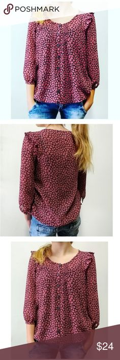 """VALENTINES DAY UO PINS AND NEEDLES Sheer Top VALENTINES DAY UO PINS AND NEEDLES Sheer Top Heart Print Small Very Dark Navy or Muted Black and Deep Mauve Approximate Measurements (model is a size 2) Chest 18"""" Pit to Pit 36"""" Circumference Length 23""""  #urbanoutfitters #uo #unif #hearts #sheer Urban Outfitters Tops Blouses"""
