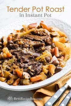 Tender and Juicy pot roast recipe with vegetables in Instant Pot pressure cooker. This recipe for easy beef pot roast can be made in slow cooker too.